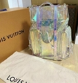 LOUIS VUITTON Virgil Abloh Christopher GM Backpack Bag Prism Iridescent PVC bags