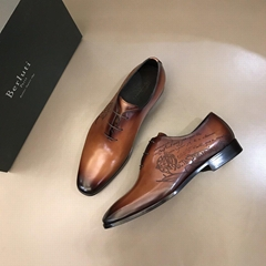 Berluti Alessandro Galet Scritto Leather Oxford men fashion dress loafer shoes