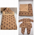 Check Cotton Baby Nest baby blanket bodysuit kids gift set Swaddle suit 5
