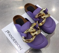 JW ANDERSON Chunky Leather Chain Slide Mules Mens Flats Women slipper shoes sale