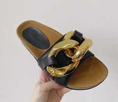 JW ANDERSON Leather Slide Sandals chunky chain strap Flat heel Open toe Wide band slipper