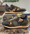 Valentino Garavani Rockrunner leather suede-trimmed camouflage-print canvas sneakers army-green Multicolored