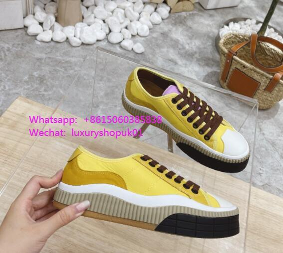 CHLOÉ Clint suede-trimmed sneakers design neon luxury brand sneaker shoes sale