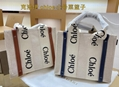 CHLOÉ Woody leather-trimmed cotton-canvas Open top tote runway stood out handbag