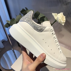 ALEXANDER MCQUEEN Glitter-trimmed exaggerated-sole sneakers silver glittered
