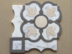White marble water jet mosaic tiles