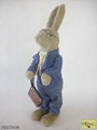 Sisal rabbit with bule suit Easter docoration
