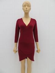 女士中袖V領連衣裙女士中長款毛衣裙