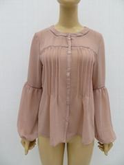 女士或肥婆纯色休闲长袖衬衫