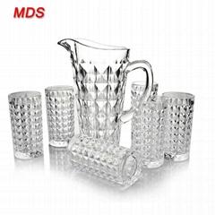 Hot sale 1420ml machinemade custom diamond glass pitcher set