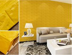 3d砖墙贴纸背胶自粘PE泡棉壁纸砖纹软装背景墙壁装饰金黄色