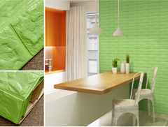 3d砖墙贴纸背胶自粘PE泡沫棉壁纸砖纹软装背景墙壁装饰果绿色