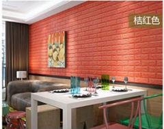 3d砖墙贴背胶自粘面板PE泡沫棉壁纸砖纹软装背景墙壁装饰橘红色