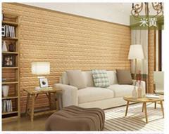 3d砖墙贴背胶自粘面板PE泡沫棉壁纸砖纹软装背景墙壁装饰米黄色