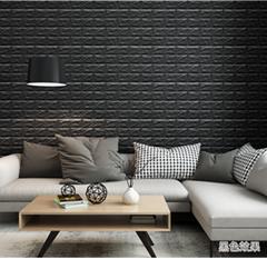 3d砖墙贴背胶自粘面板PE泡沫棉壁纸砖纹软装背景墙壁装饰黑色