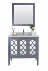 36'' Grey bathroom vanity with LED lighted mirror