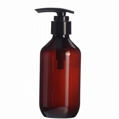 200ml Plastic Amber Bottle With Ribbed Lotion Pump