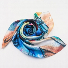 Fashionable Design Small Size Custom Made Hand Roll Silk Satin Scarf