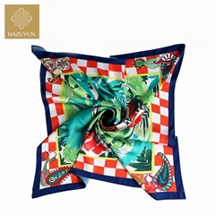 Wholesale Fashion Design Custom Digital Print Square Silk Scarf