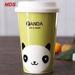 Creative portable colored bone china drinking mug milk coffee cup with lid