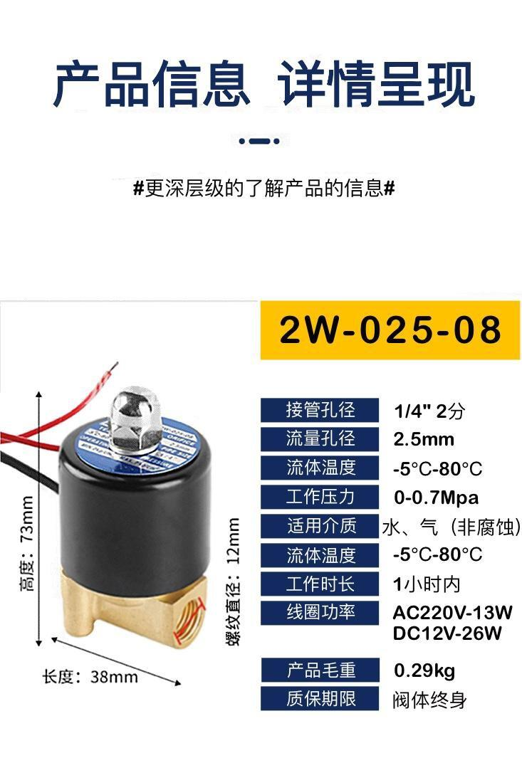 廠家直銷兩位兩通黃銅材質電磁閥220V 2W 32 40 50 65 關閥 電動閥 5