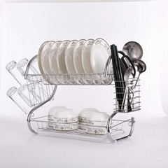 2019 classic kitchen dish rack two layer s shape dish drying rack