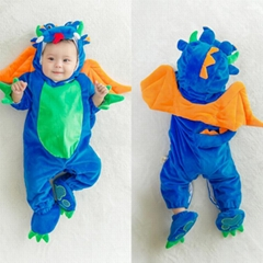 Baby Kids Clothing Winter Halloween Blue Dragon Dinosaur Outfits Cosplay Party C
