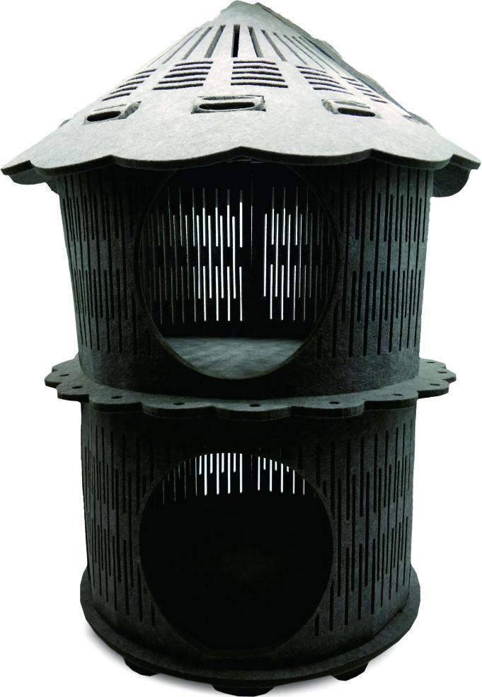 New Arrival Luxury Felt Cat House Double Tower Shape 1