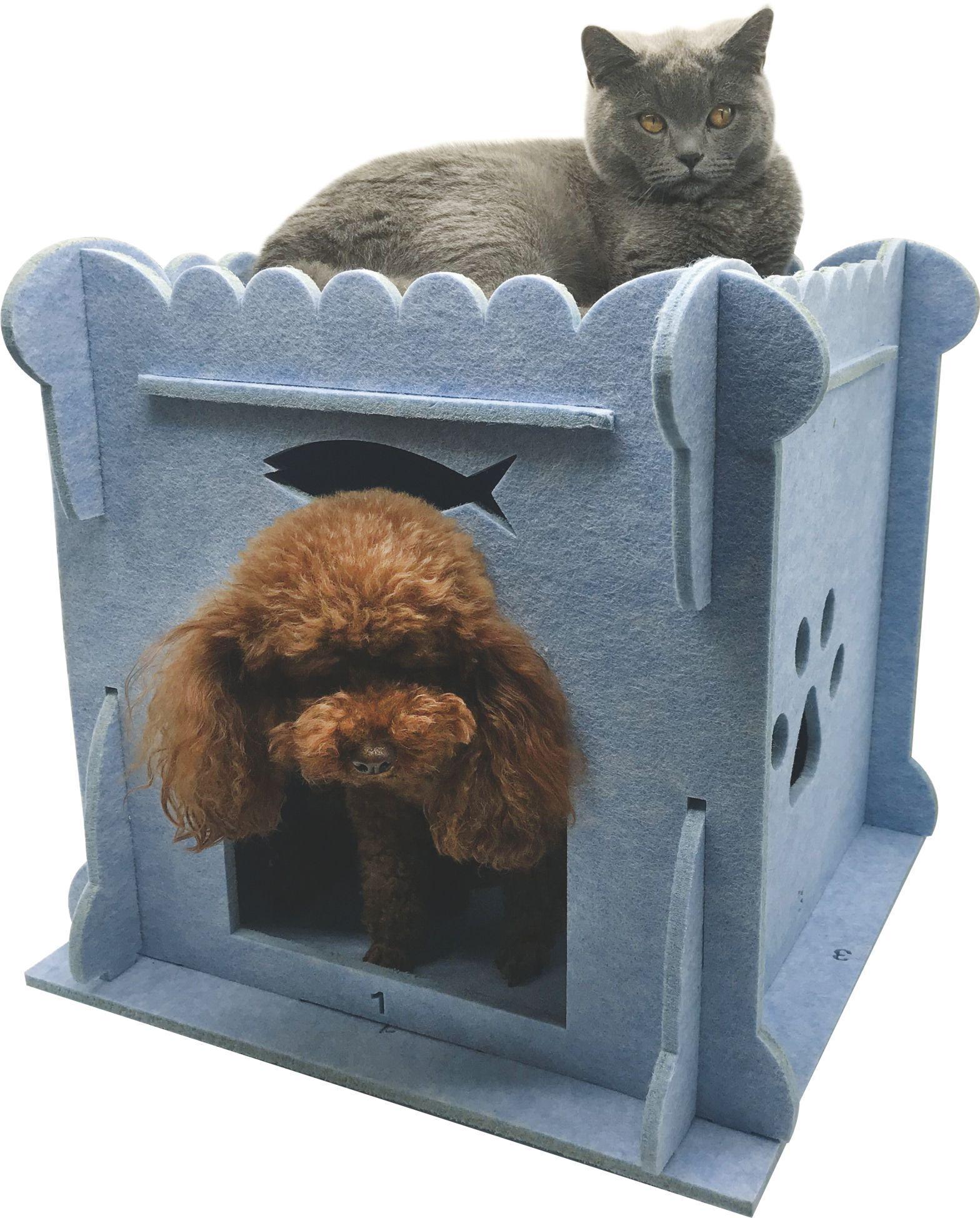 New Arrival Luxury Felt Cat House Double Tower Shape 4