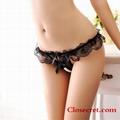 Closecret Women's 4-Pack Black Thong Underwear Lace T-Back Panties