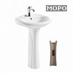 Ceramic Wash Pedestal Basin with Bathroom Kitchen Faucet