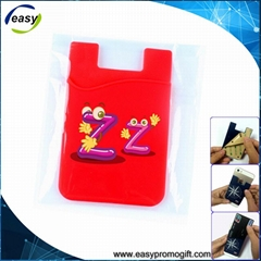 Hot sale 3m smart wallet mobile card holder with screen cleaner