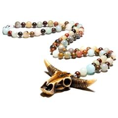 Beaded Fashion Jewelry Resin Cow Pendant Amazonite Bohemian Handmade Necklaces