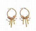 Stainless Steel Geometric Shape Tassel Fashion Freshwater Pearl Handmade Earring