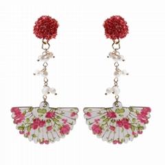 Ladies Fashion Boutique Flower Freshwater Pearl&Fan Drop Ear Stud Earrings