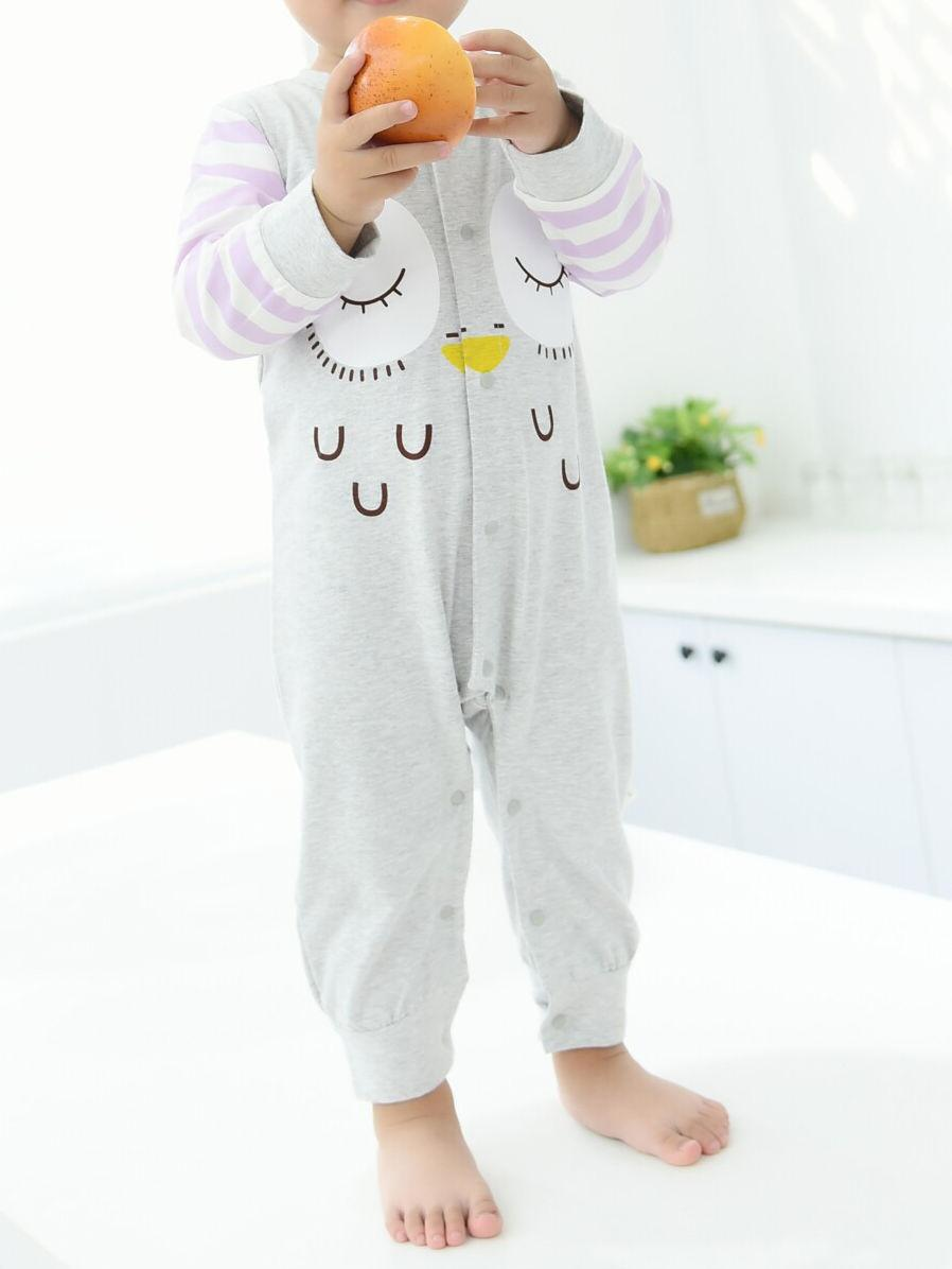 Cartoon Owl Pattern Newborn Infant Overalls Jumpsuit Long-sleeved Wholesale 5