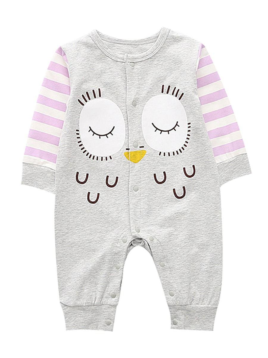 Cartoon Owl Pattern Newborn Infant Overalls Jumpsuit Long-sleeved Wholesale 1