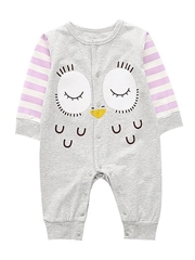 Cartoon Owl Pattern Newborn Infant Overalls Jumpsuit Long-sleeved Wholesale