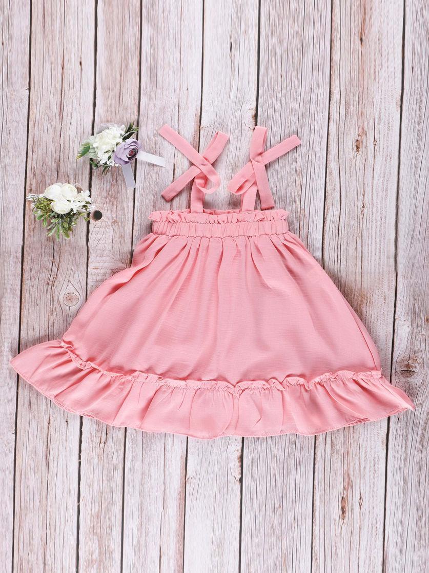 Summer Toddler Baby Girl Frilled Pink Sundress Wholesale 2