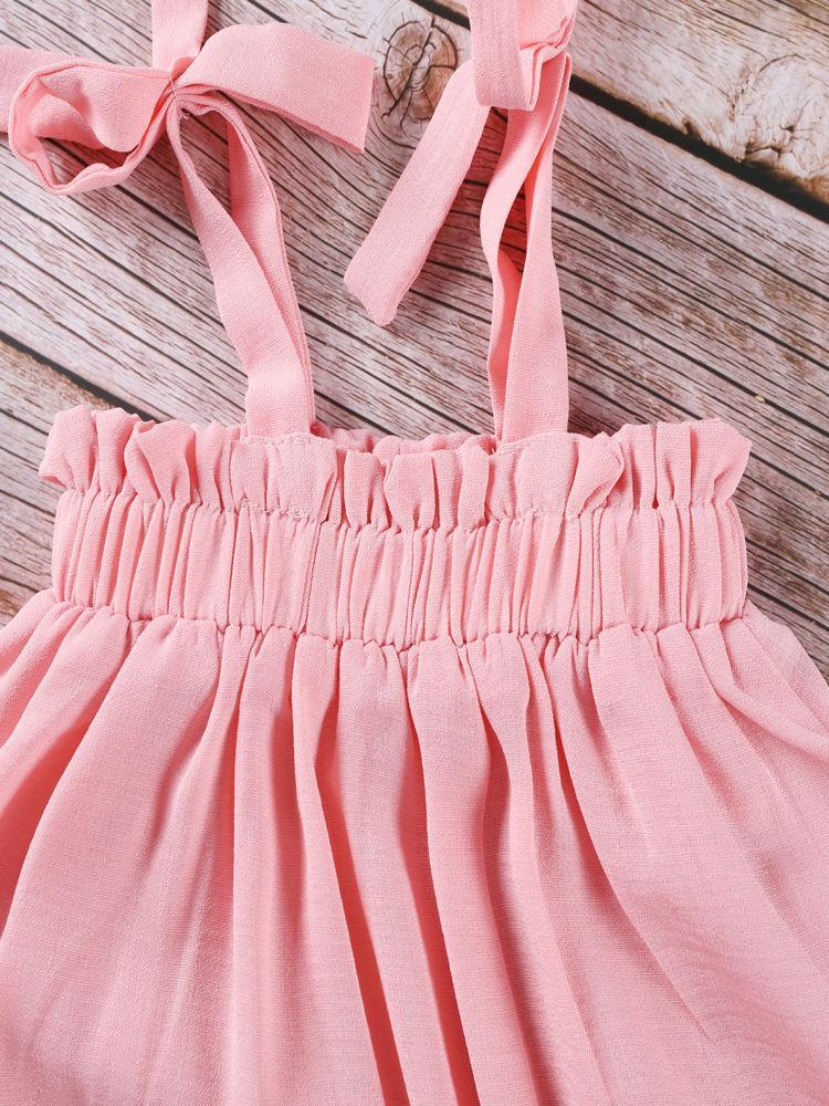 Summer Toddler Baby Girl Frilled Pink Sundress Wholesale 5
