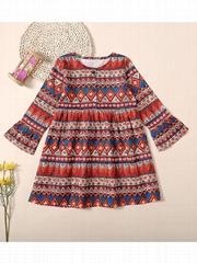 Vintage Baby Little Big Girls Bell-sleeved Shift Dress Wholesale