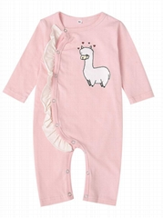 Spring Pink Frilled Sheep Print Baby Girl Sleepsuit Overalls Wholesale