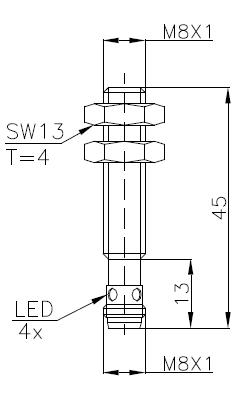 全金属系列电感式传感器(接近开关)M8 2
