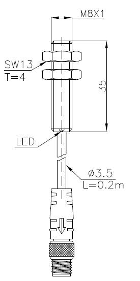 全金属系列电感式传感器(接近开关)M8 3