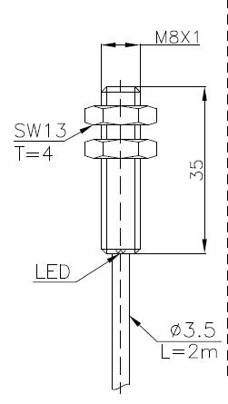 全金属系列电感式传感器(接近开关)M8 4