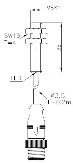 全金屬系列電感式傳感器(接近開關)M8 5