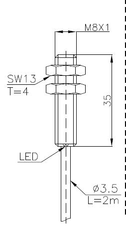 两线制电感式传感器(接近开关)M8 2