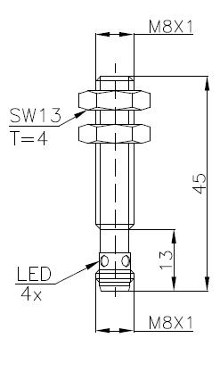 两线制电感式传感器(接近开关)M8 4