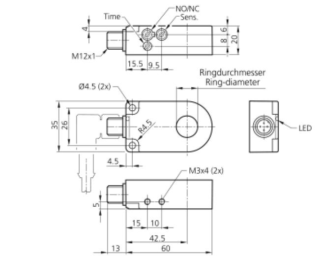 环形系列电感式传感器(接近开关)6mm 2