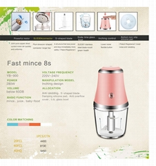 Portable and Efficient mini Multifunction Food Processor Assembled with DC Motor